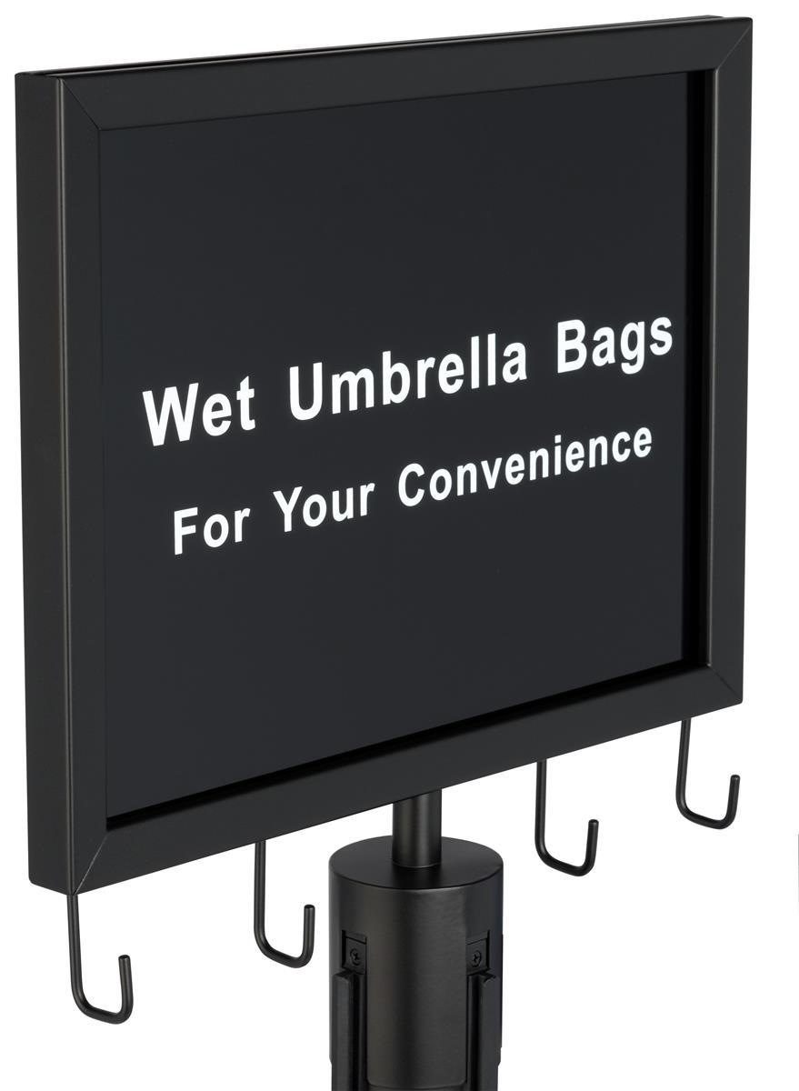 Wet Umbrella Black Stanchion Sign For Guest Convenience