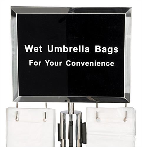 Wet umbrella silver stanchion sign holder with hooks for 2 sets of bags