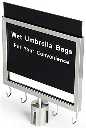 Wet umbrella silver stanchion sign holder with pre-printed message