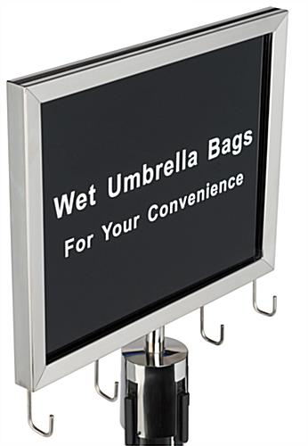 Wet umbrella silver stanchion sign holder with welded hooks