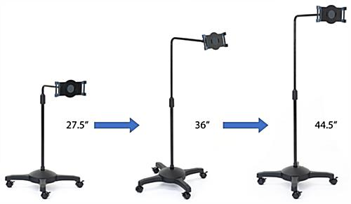 L-arm adjustable tablet holder with wheels and height adjustable settings