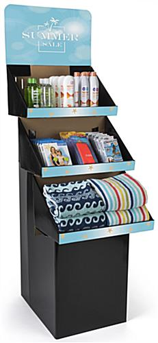 3 Shelf Custom Printed Cardboard Floor Stand Includes Graphics