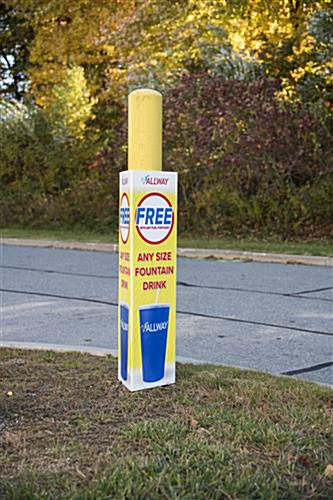 highly visible printed coroplast bollard cover sign