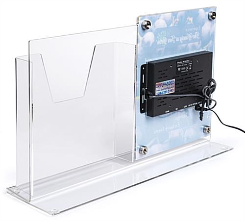 Countertop digital sign display with magazine holder in clear acrylic with steel hardware