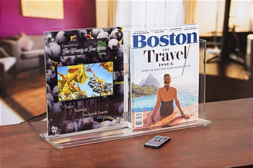 Countertop digital sign display with magazine holder for reception desks and info trade shows