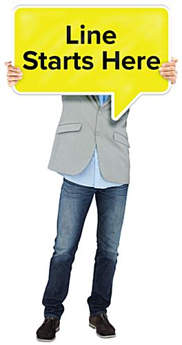 40 inch wide life size standee with speech bubble for crowd control