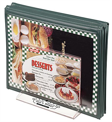 Customized Tabletop Menu Holder Rack with Large Compartment