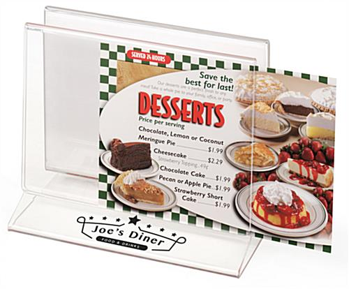 Customized Tabletop Menu Holder Rack with UV Printed Graphics