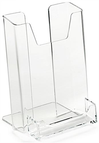 "4"" Acrylic Customized Brochure Holder with Business Card Pocket"