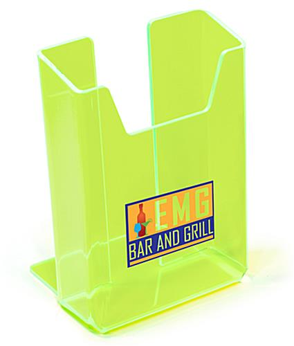 Neon green acrylic custom literature display with 6 inch single pocket