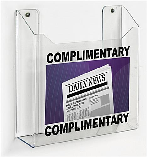 Personalized clear acrylic wall mount custom printed newspaper tabloid rack