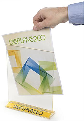 Vertical Stand Up Sign Holder w/ Custom Logo Top Loading