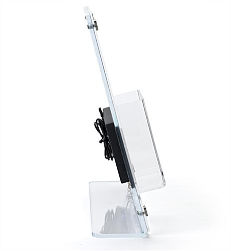 Countertop brochure holder with video screen fits onto most tables and desktops