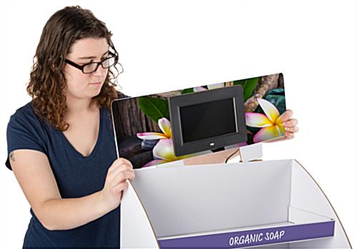 Digital custom cardboard POP countertop display with hassle-free assembly