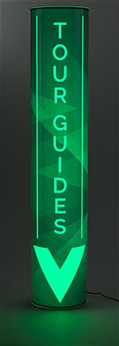 Green Custom Portable Illuminated Pillar Sign