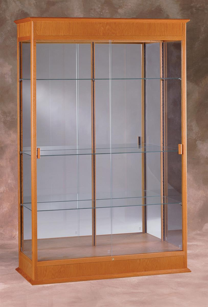 This Free Standing Trophy Case With Oak Finish Gives