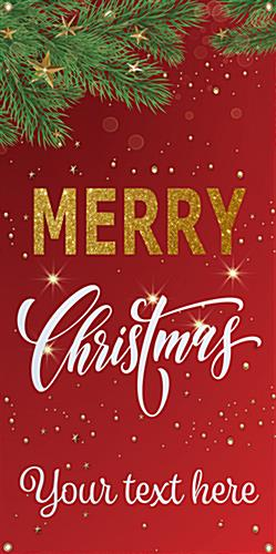 "2' x 4' ""Merry Christmas"" hanging business banner with custom text"