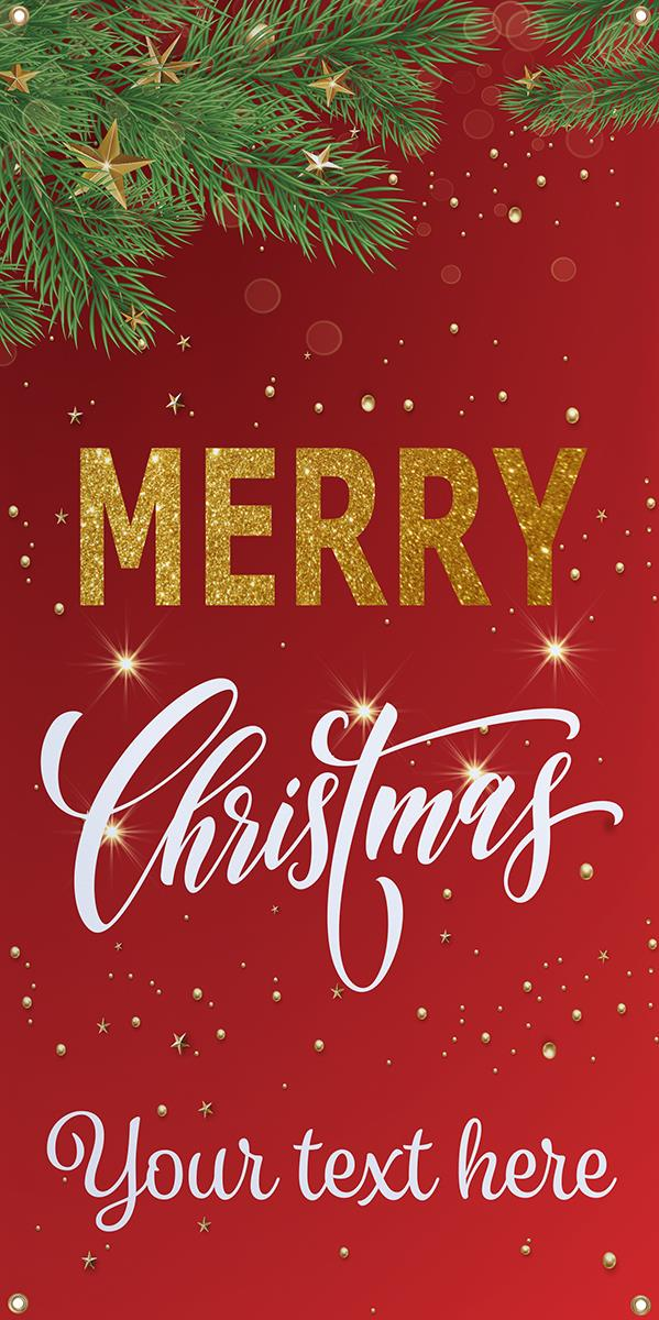 2 x 4 merry christmas hanging business banner custom text 24 x 48 pre printed merry christmas banner with grommets customizable text red