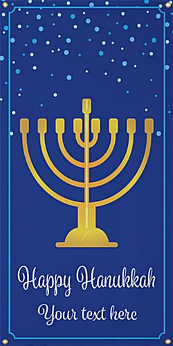 2' x 4' hanging holiday banner with Hanukkah-inspired graphics