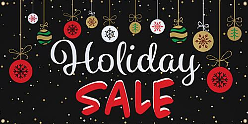 4' x 2' chalkboard holiday sale banner with festive artwork