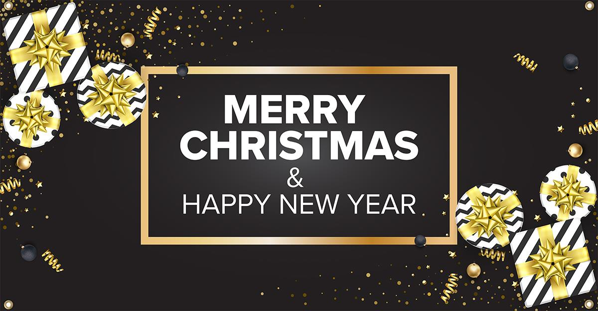 merry christmas banner 48 x 24 48 x 24 pre printed merry christmas happy new year banner w grommets black