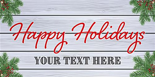 4' x 2' holiday hanging business banner with personalized messaging