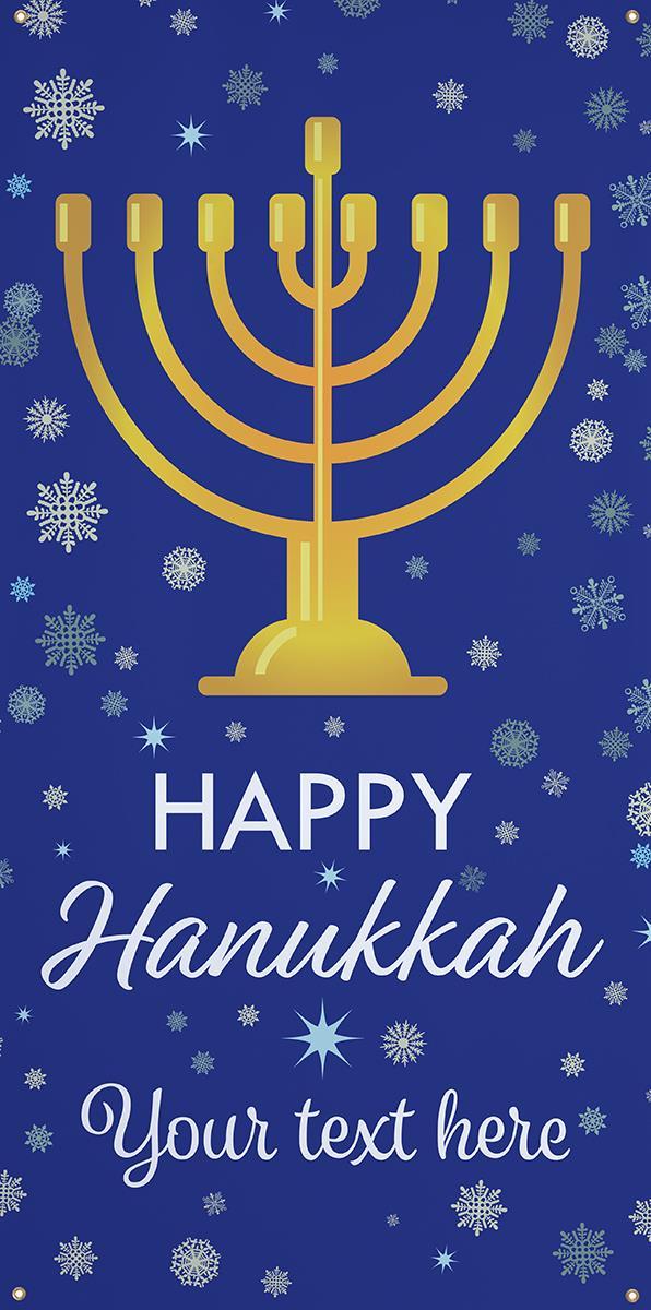 3 X 6 Hanging Vinyl Hanukkah Banner Blue Snowflake Theme