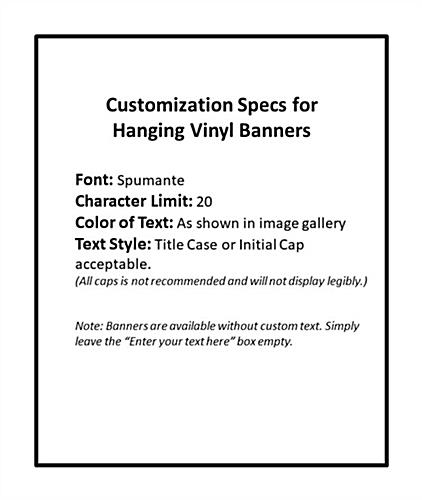 Text specifications for 6' x 3' seasonal hanging banner