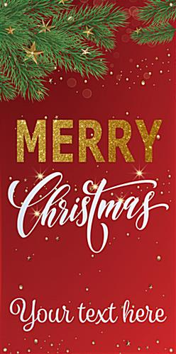 "3' x 6' ""Merry Christmas"" hanging business banner with custom text"