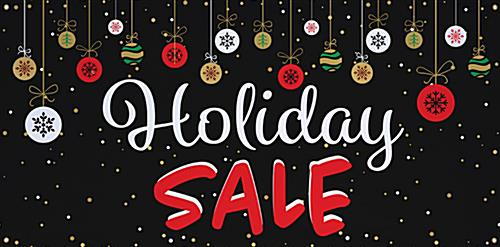 6' x 3' chalkboard holiday sale banner with festive artwork