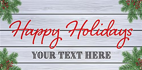 6' x 3' holiday hanging business banner with custom text option