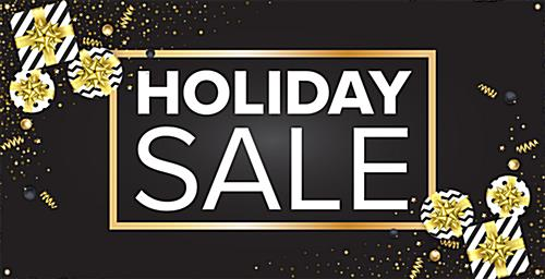 Holiday store banner with promotional text