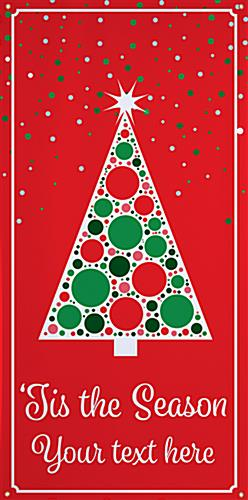 Christmas tree hanging vinyl banner with modern red design