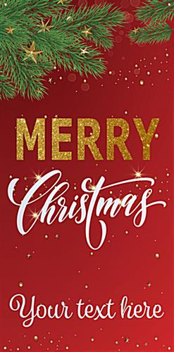 "4' x 8' ""Merry Christmas"" hanging business banner with red snowy design"