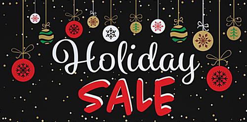 8' x 4' chalkboard holiday sale banner with retail message