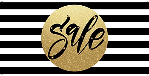 Holiday sale banner with black white and gold color scheme