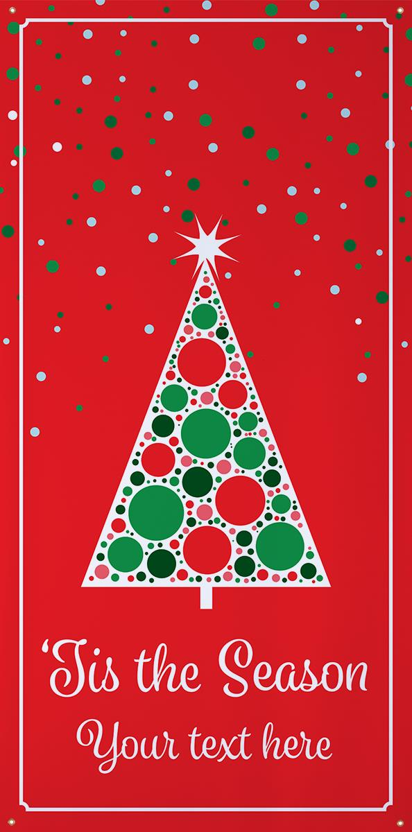 4 X 8 Personalized Holiday Banner Red Christmas Design