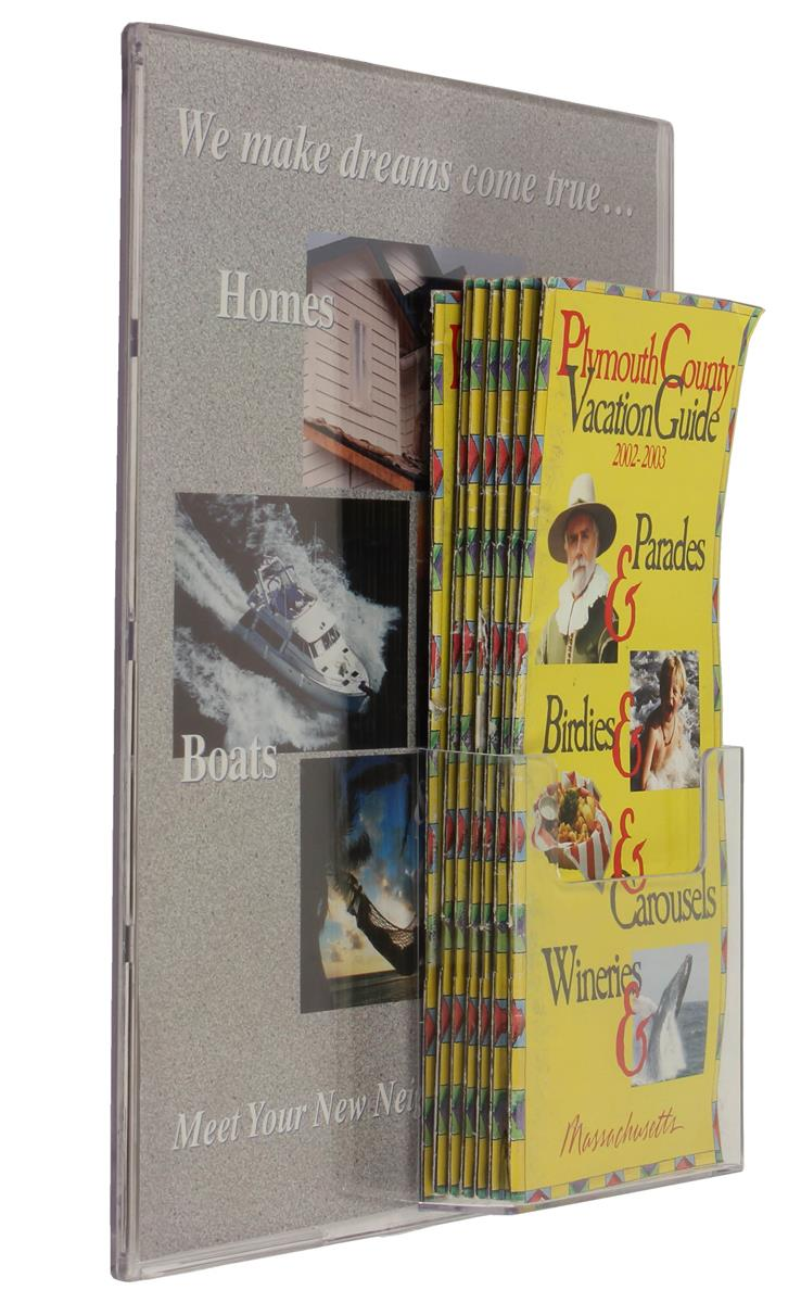 Clear Plastic Sign Holder Magnetic Display W Brochure
