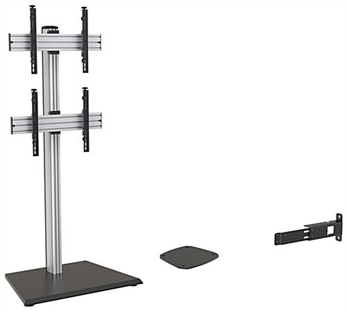35.9 inch x 25.9 inch vertical dual tv floor stand with additional components