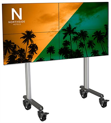 79.09 inch x 39.3 2x2 inch multi-monitor video wall stand with 4 locking casters