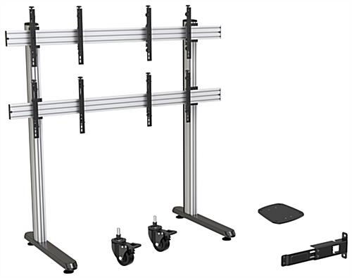 79.09 inch x 39.3 2x2 inch multi-monitor video wall stand with optional casters