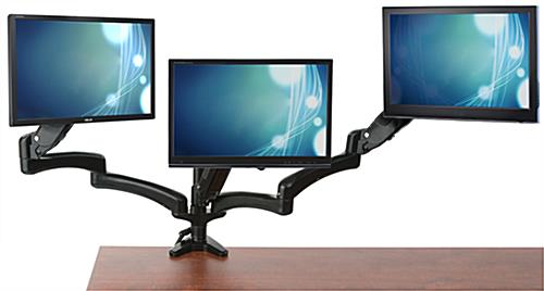 Triple Monitor Desk Mount Integrated Cable Management