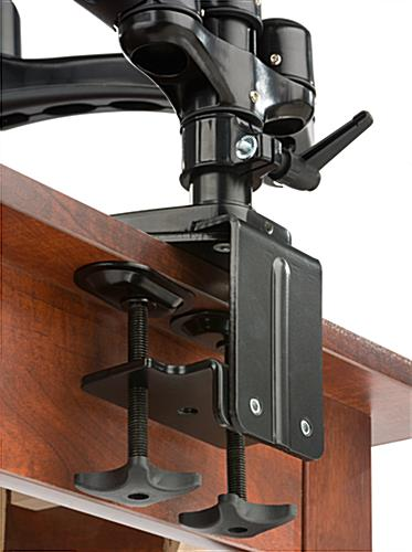 Triple Monitor Desk Mount with Grommet Clamp