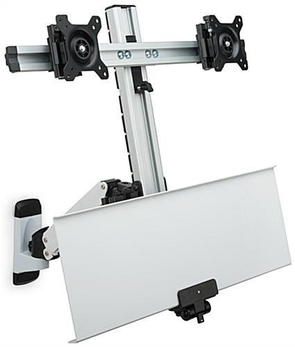 Dual LCD Monitor Wall Stand with Folding Tray