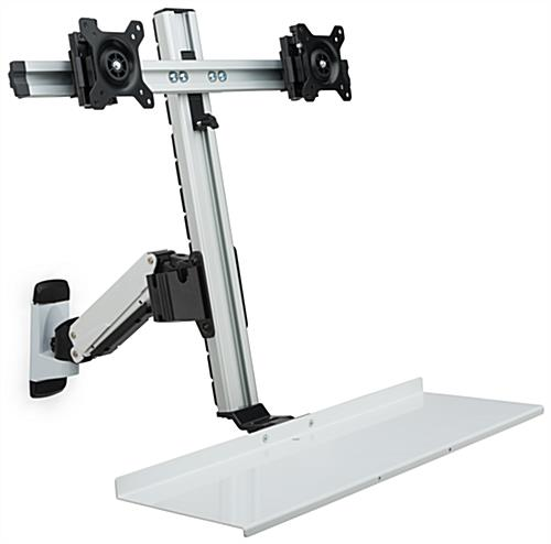 Silver Dual LCD Monitor Wall Stand