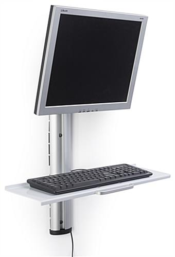 Adjustable Wall Mount Computer Station with Keyboard Tray