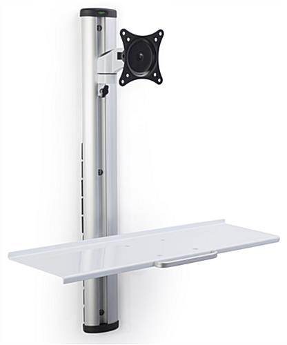 Adjustable Wall Mount Computer Station, Silver Finish