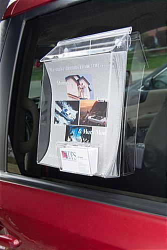 Car Brochure Holder Dual Pocket W Window Suction Cups