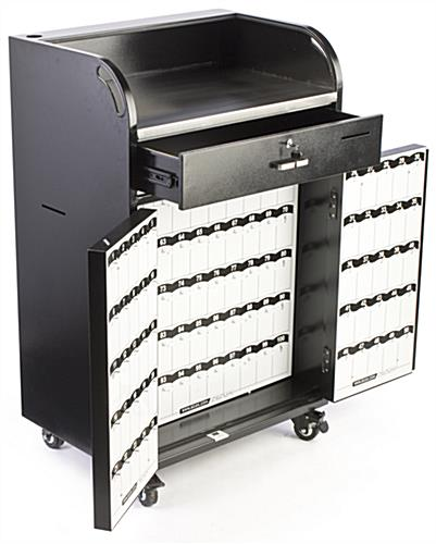 Locking Valet Station On Wheels Black Steel W 150 Key Slots