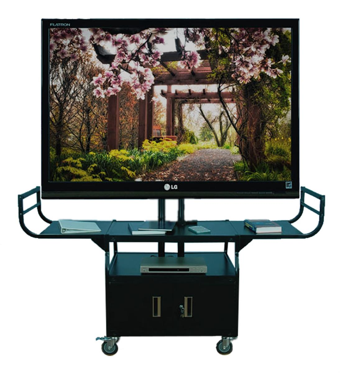 Flat Screen Cart Widescreen Mount With Locking Cabinet